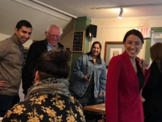 aoc spotted bernie vermont